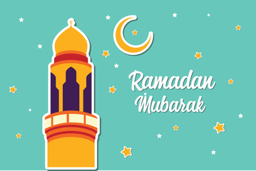 Ramadan Mubarak Greeting Card design with tower mosque, half moon, and star vector Illustration. Ramadan Mubarak Greeting Card Background. Tower Mosque Vector Illustration. Flat illustration.