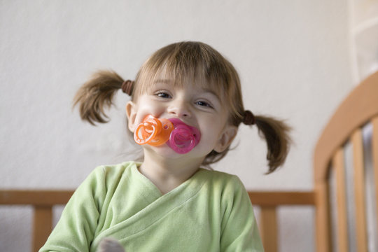 Baby girl, 27 months, Toddler, pacifier, Ponytails,