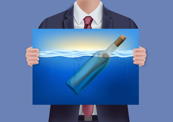 SOS - bouteille à la mer - appel - détresse - concept - message - symbole - appel au secours