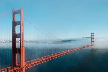 San Francisco Golden Gate bridge on foggy day dramatic evening light view from Marin Headland