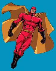 Superhero Flying Isolated / Full length illustration of powerful superhero looking down while soaring in the sky.