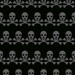 Skull and Bones seamless background typography graphics, bandana fashion design - vectors