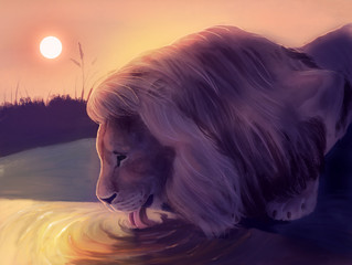 Lion drink a water. Digital painting.