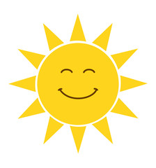 Cartoon flat sun icon with a smile vector illustration isolated on white
