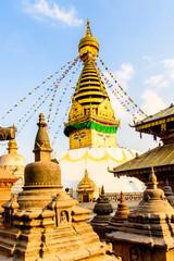 Swayambhunath (Swayambu or Swoyambhu), an ancient religious architecture atop a hill, Kathmandu, Nepal