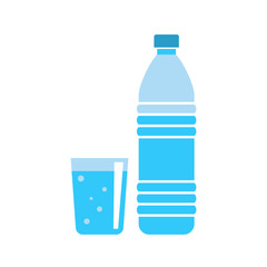 Plastic water bottle - drink container - fresh mineral water - flat vector illustration isolated on white background.