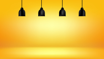Fototapete - yellow background with light boxes on ceiling, abstract gradient studio and wall texture vector and illustration, can be used presented your products