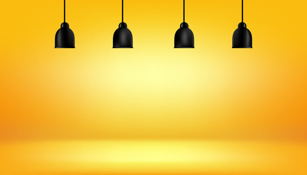 yellow background with light boxes on ceiling, abstract gradient studio and wall texture vector and illustration, can be used presented your products