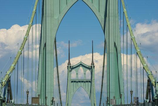 Portland Oregon St. Johns Historic Art Deco Green Bridge over the Williamette River