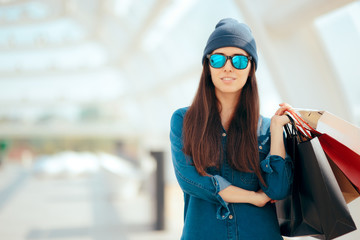 Cool Urban Fashionable Girl with Shopping Bags