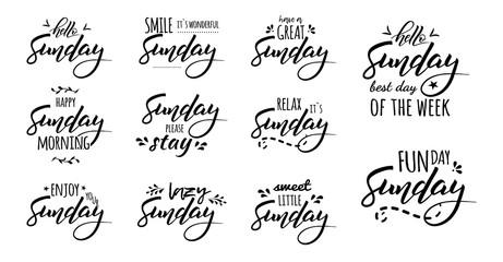 hello happy sunday lettering