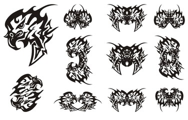 Peaked tribal eagle symbols in black and white options. Abstract flaming eagle head symbol with an arrow, the double symbols and butterflies created from him
