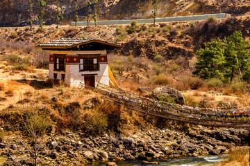 Tamchog Lhakhang bridge and Nature of Paro Valley, Bhutan