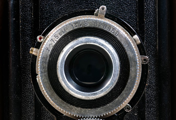 Old Soviet photography camera close up, fabricated aproximative in 1955.