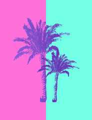 Hand drawn Palm Trees isolated on pastel colors background.
