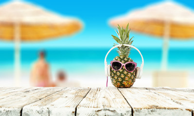 Summer photo of fresh pineapple