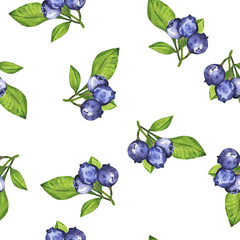 Seamless pattern with fresh blueberry and green leaves on white background. Hand drawn watercolor illustration.