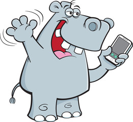 Cartoon illustration of a rhinoceros holding a cell phone.