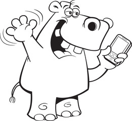 Black and white illustration of a rhinoceros holding a cell phone.