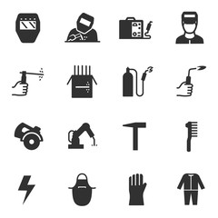 Welding, monochrome icons set. Tools and work with welding equipment simple symbols collection