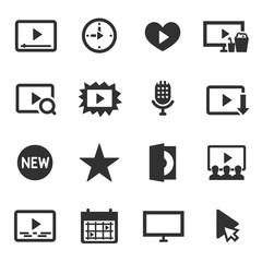 Video, monochrome icons set.