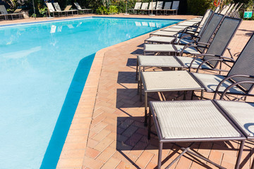 Swimming Pool Benches Outdoors Holiday Destination
