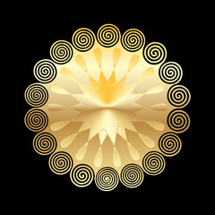 Golden mandala isolated on dark background. Design elements. Vector illustration.