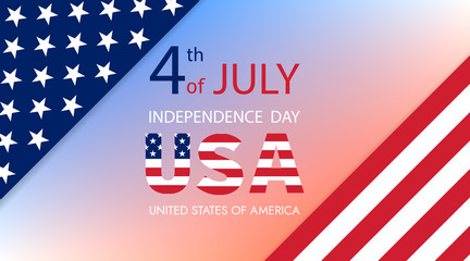 Fourth of July Independence Day of the USA . Abstract American flag. Independence Day. Greeting card. Vector illustration.