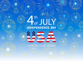 Fourth of July Independence Day of the USA. Fireworks on Independence Day. Greeting card. Vector illustration.