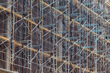 Close up of construction scaffolding