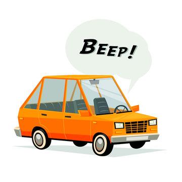 cartoon car. Flat style orange car on white background.