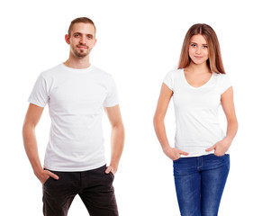 Man a woman in blank white tshirt, isolated on white background, T-shirt design