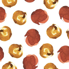 Seamless pattern with brown stains on white background. Hand drawn watercolor illustration.