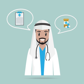 Arab Doctor or Pharmacist and pills icon, medicine concept