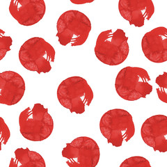 Seamless pattern with red stains on white background. Hand drawn watercolor illustration.