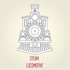 Old steam locomotive front view - vintage train