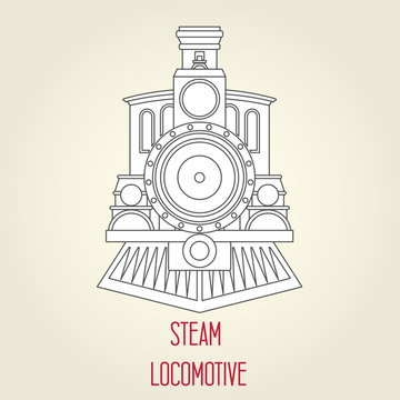 Old steam locomotive front view - vintage train