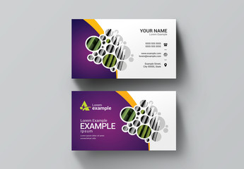 Business Card Layout with Purple, Yellow, and Green Elements