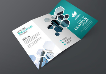 Blue Trifold Brochure Layout with Hexagons