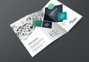 Blue Trifold Brochure Layout with Organic and Geometric Shapes