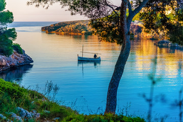 Morning scene with a fisher man on the sea near Esmeralda beach, in Mallorca island, Spain Wall mural