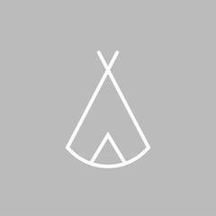 Zelt, Tipi - Piktogramm - grau weiß