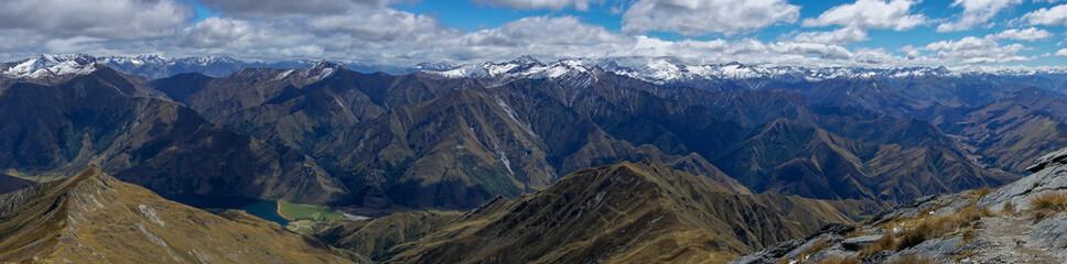 The Remarkables mountain range as seen from the peak of Ben Lomond, near Queenstown New Zealand