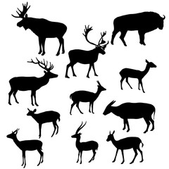 vector silhouettes of horned animals