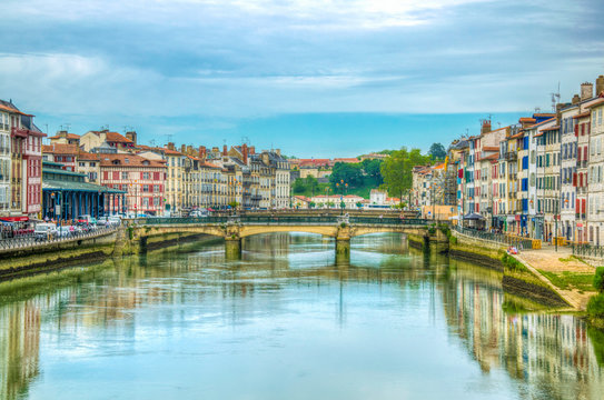 Riverside of Nive flowing through Bayonne, France