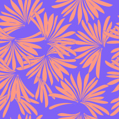 Vector seamless beautiful artistic tropical pattern with exotic forest.