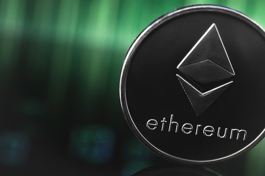 ethereum coin on the digital background