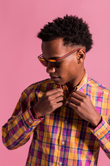 Hipster black man in colorful shirt