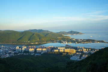 Picturesque landscape from height of coastal city
