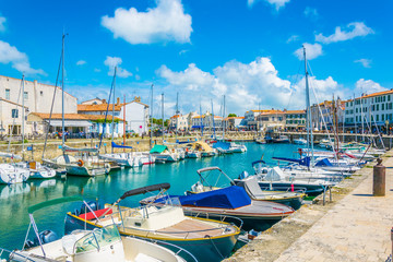 View of port at Saint Martin de Re in France